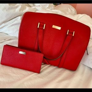 Kate Spade Red Handbag with Matching Wallet